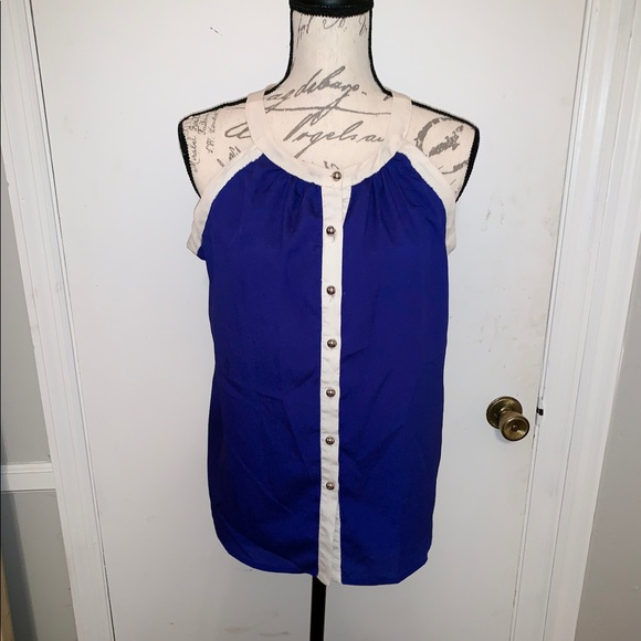 superb Tops - Blue button up blouse tank